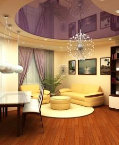 Подбираем роскошный натяжной потолок  для самой главной комнаты - гостиной.